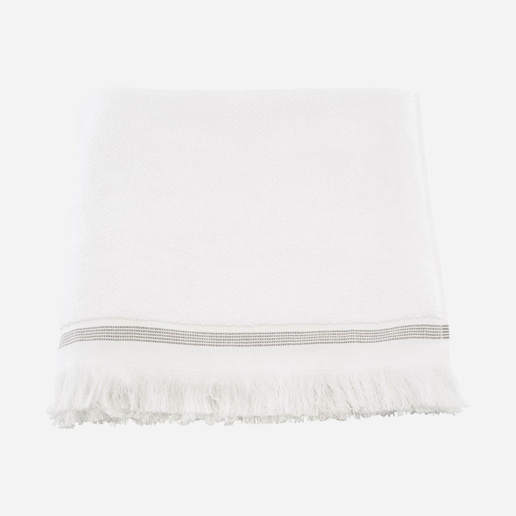 white cotton towel with grey stripe by house doctor