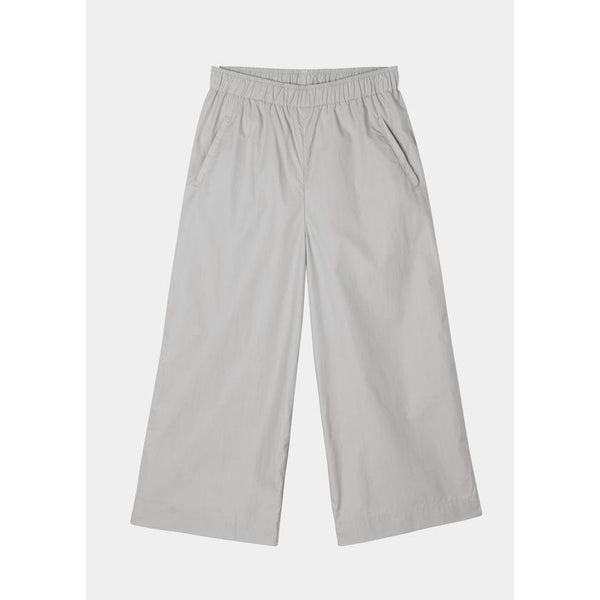 wide organic cotton pants in light grey with elastic waistband by designer aiayu