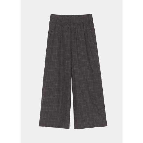 wide grey organic cotton pants with plaid detail and an elastic waistband by designer aiayu