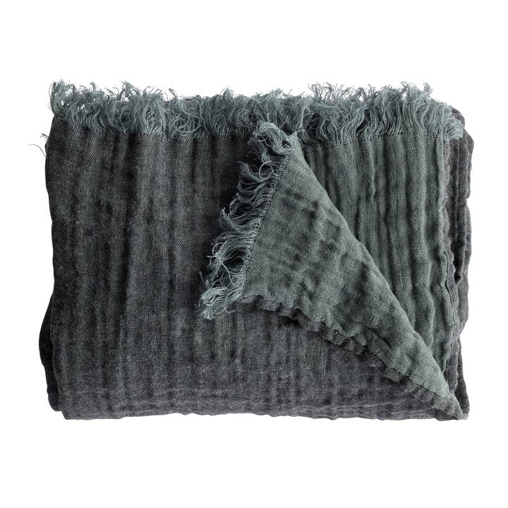 folded wool throw in ocean by designer tine k