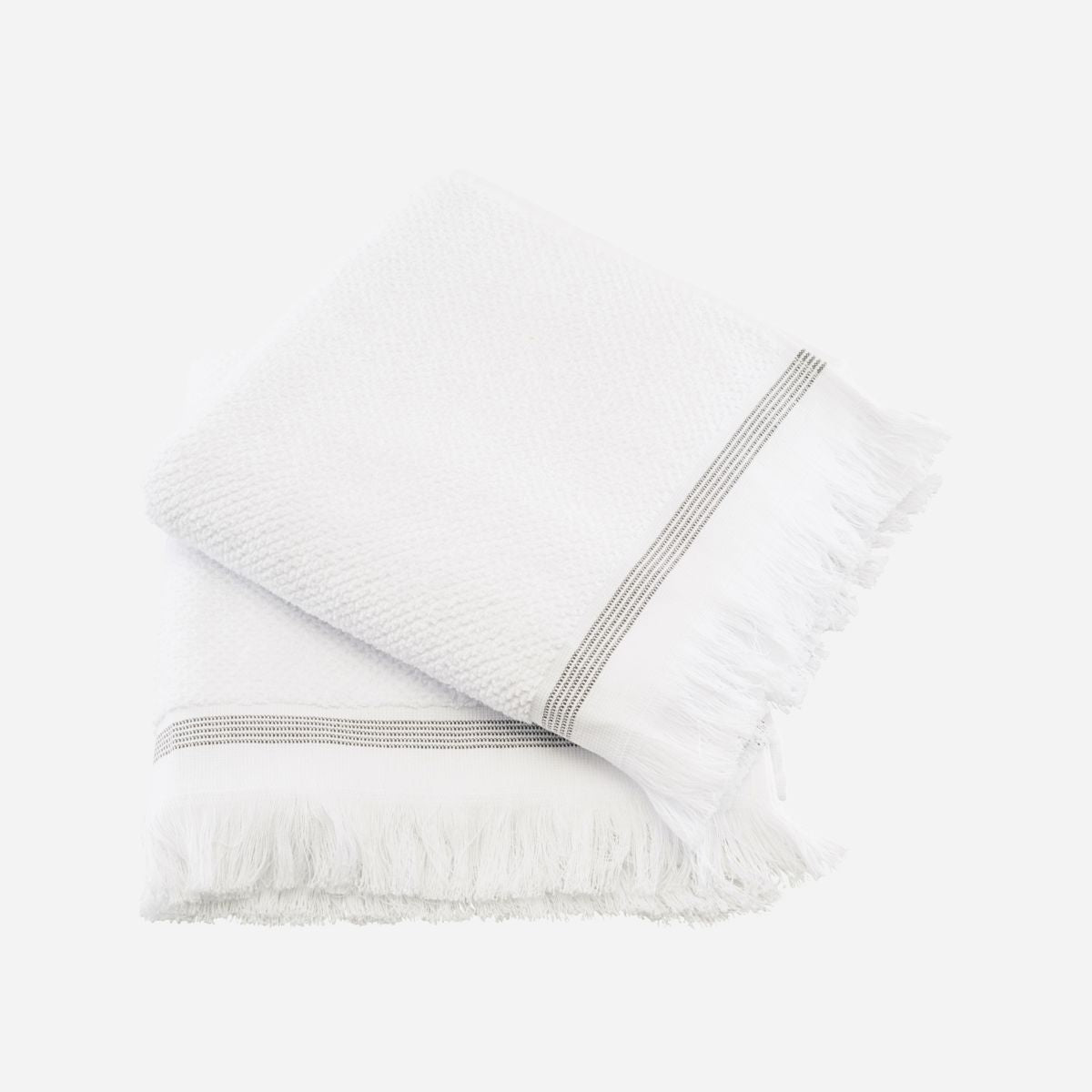 large set of organic cotton white towels with grey stripe by house doctor
