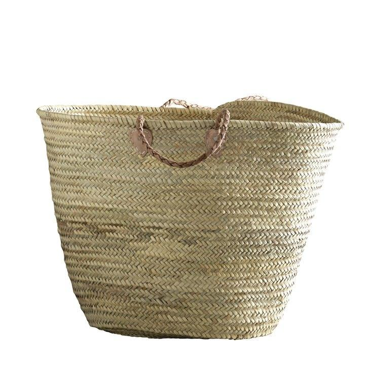 extra large woven basket with two braided natural leather handles