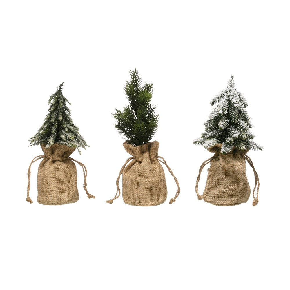 Rosy Brown Faux Pine Tree in Burlap Bag