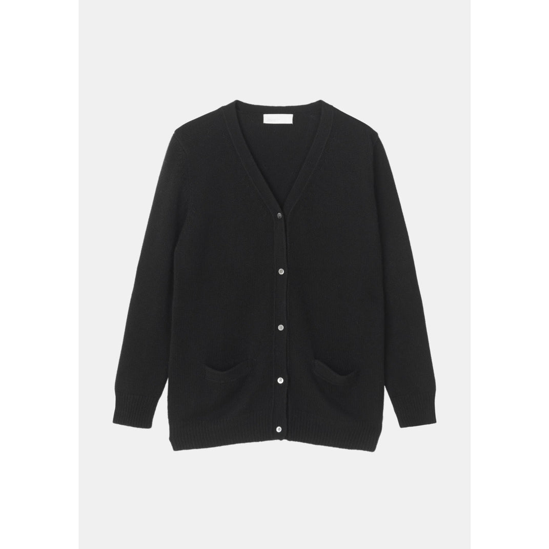 black straight fit cardigan with buttons up the front and two pockets by designer aiayu