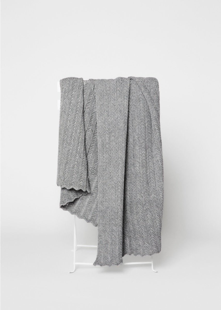grey knit throw draped over a chair