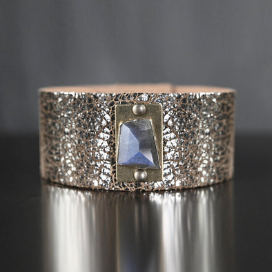 Midsize Cuff with Labradorite on Sparkle Gold Leather