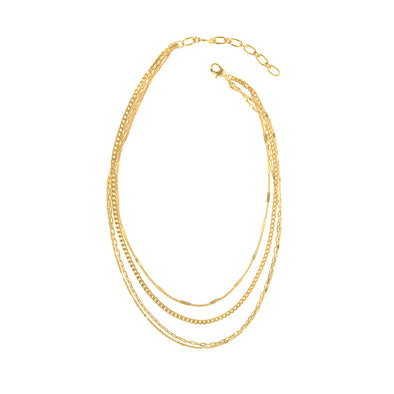 Four Row Dainty Chain Necklace in Gold