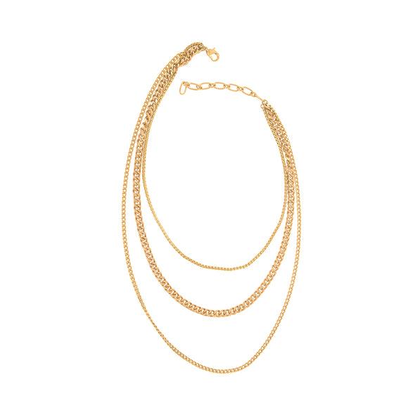 Three Row Layered Chain Necklace in Gold
