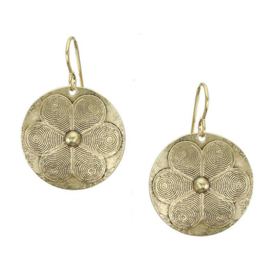 Domed disc with Patterned Flower Brass Earring