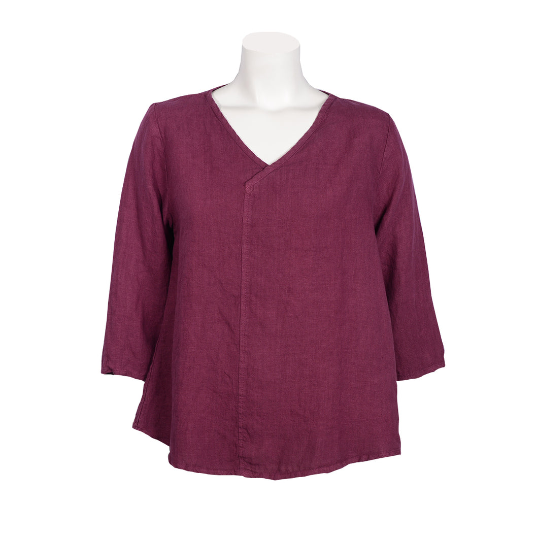 Crossover V-Neck Top in Vino