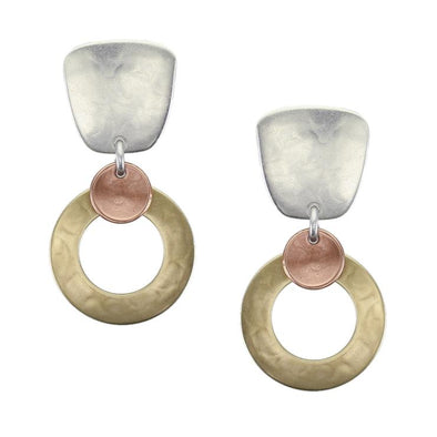 Tapered Square with Medium Ring and Small Dished Disc Earring