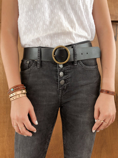 Wide Copper-Tone Circle Buckle Belt in Black