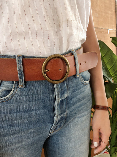 Wide Copper-Tone Circle Buckle Belt in Tan