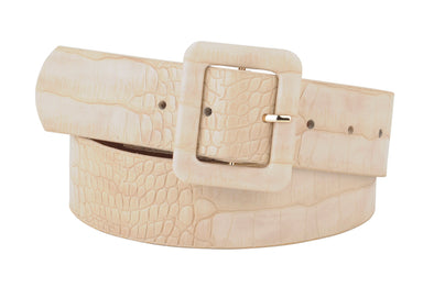 Celia Leather Croco Belt in Cream