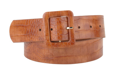 Celia Leather Croco Belt in Tan