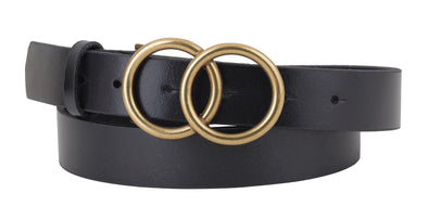 Glam Double Circle Belt in Black