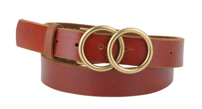 Glam Double Circle Belt in Tan