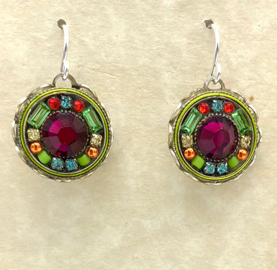 Red and Multi-Colored Round Dangle Earrings