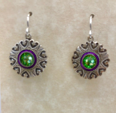Green and Purple Round Dangle Earrings