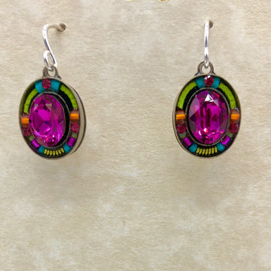 Pink and Multi-Colored Oval Dangle Earrings