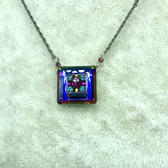 Blue and Multi-Colored Square Necklace