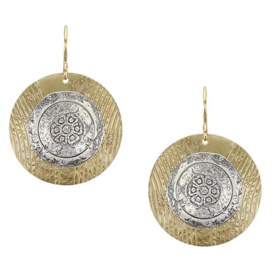 Brass and Silver Round Disc Textured Earrings