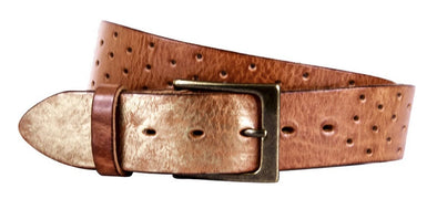 Perforata Curved Handmade Leather Belt