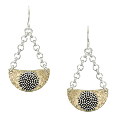 Suspended Curved Semi Circle and Patterned Disc Wire Earring