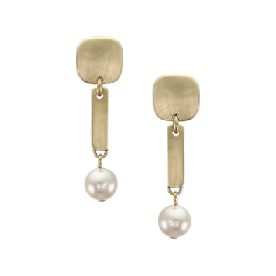 Small Rounded Square with Long Rectangle and White Pearl Post Earring