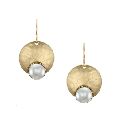Disc with Medium White Pearl Cabochon Wire Earring