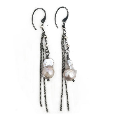 Large Nucleated Pearl and Pyrite Earrings
