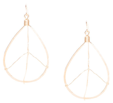 (Small) Hammered Geometric Minimalist Gold Tear Drop Peace Sign Earrings