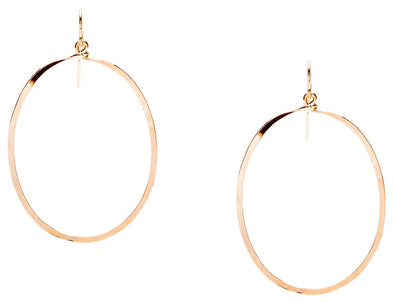 (Small) Hammered Geometric Minimalist Gold Oval Hoop Earrings