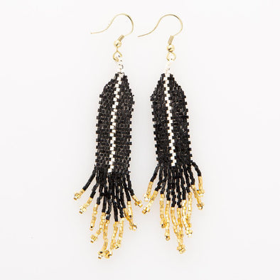 Black with Ivory Luxe Single Stripe with Fringe Earrings