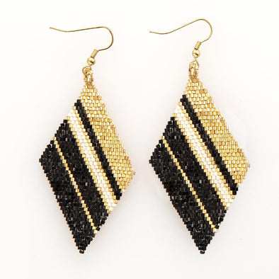 Gold, Black, Ivory Diamond Luxe Stripe Earrings
