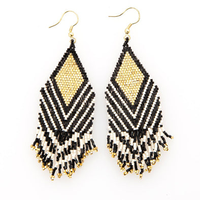 Black with Ivory Stripe Luxe Earrings with Fringe