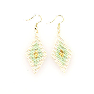 Mint, Gold, Ivory Border Diamond Luxe Earrings