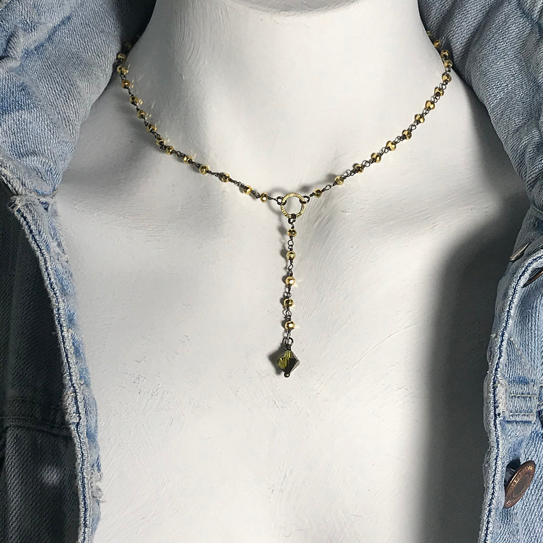 Pyrite Rosary with Swarovski Crystal Choker Necklace in Gold