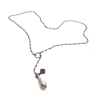 Pyrite Rosary with Nucleated Pearl Necklace