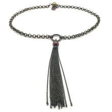 Load image into Gallery viewer, Rolo Choker Necklace with Tassel and Red Pearl in Bronze