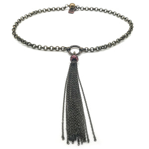 Rolo Choker Necklace with Tassel and Red Pearl in Bronze