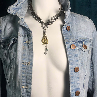 Opera Silver Pyrite Rosary & Baroque Pearls Necklace