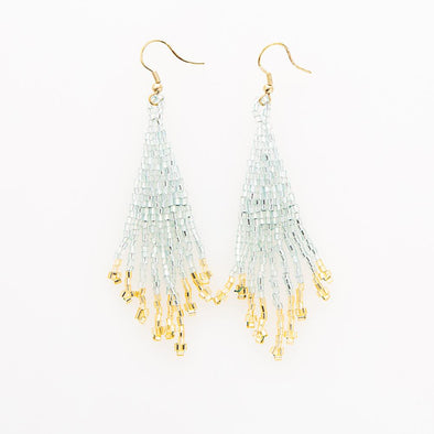 Sky and Gold Small Fringe Earrings