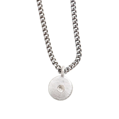 You are My Sunshine Petite Diamond Necklace in Satin Silver