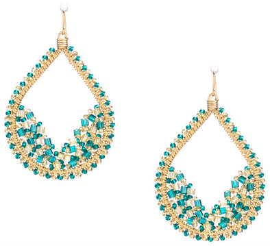 Handmade Bohemian Gold plated Seed Beads and Bugle Beads Teardrop Earrings in Enchanting Mix
