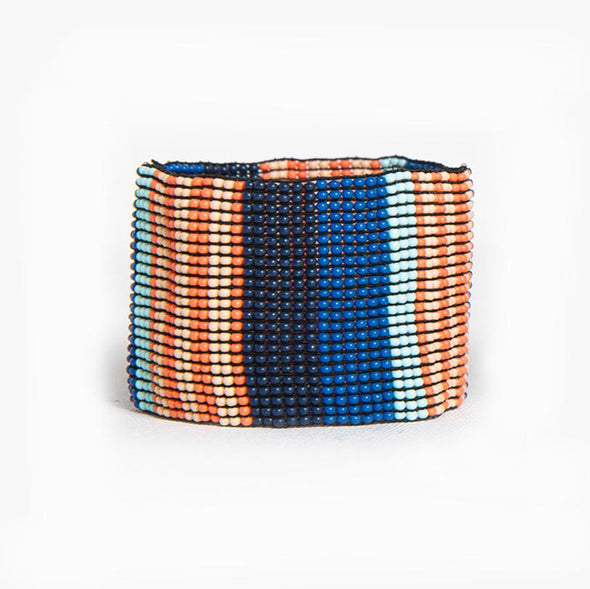 Lapis Coral Stripe Stretch Seed Bead Bracelet