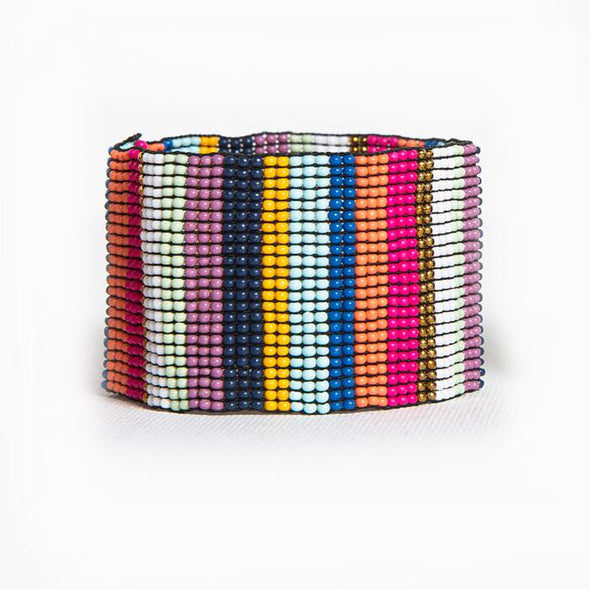 Multi Color Stripe Stretch Seed Bead Bracelet
