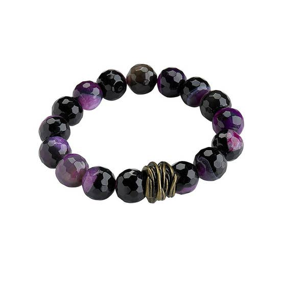 Purple Agate Stretch Bangle Bracelet