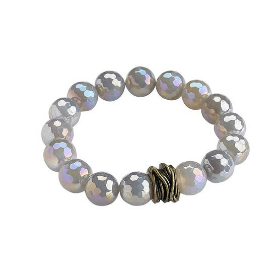 Silver Agate Stretch Bangle Bracelet