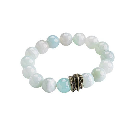 Seafoam Agate Stretch Bangle Bracelet